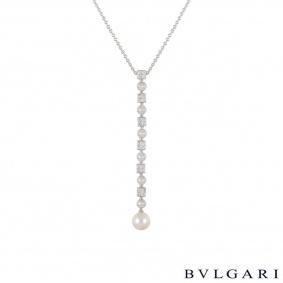 Bvlgari White Gold Diamond & Pearl Lucea Pendant